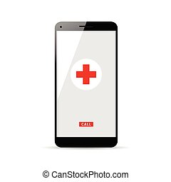 mobile phone with red cross on it illustration