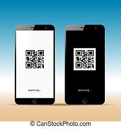 mobile phone with scanning icon on it illustration
