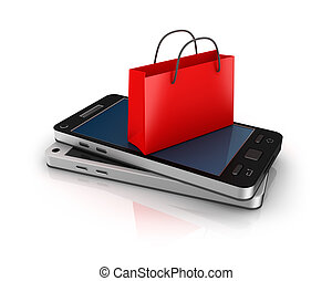 Mobile phone with shopping bag