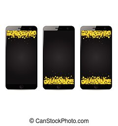 mobile phone with sparkle gold on it illustration