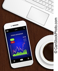 mobile phone with stock chart, mug of coffee and laptop keyboard