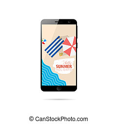 mobile phone with summer holiday on it illustration