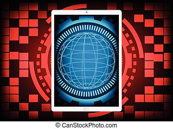 Mobile phone with the blue circle of ring and gears inside on a red gear ring technology background. Vector illustration design data protection security communication concept.