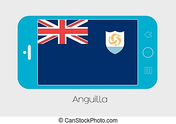Mobile Phone with the Flag of Anguilla