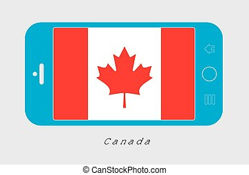 Mobile Phone with the Flag of Canada