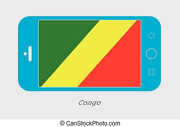 Mobile Phone with the Flag of Congo