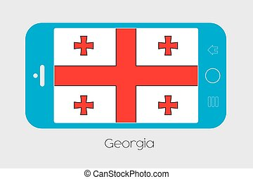 Mobile Phone with the Flag of Georgia