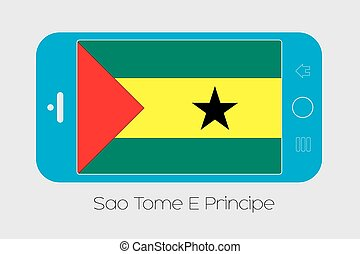 Mobile Phone with the Flag of Sao Tome E Principe