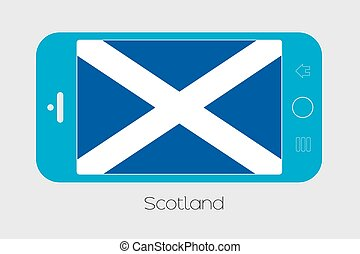 Mobile Phone with the Flag of Scotland