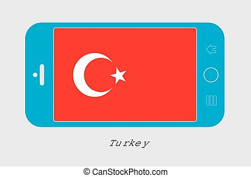 Mobile Phone with the Flag of Turkey