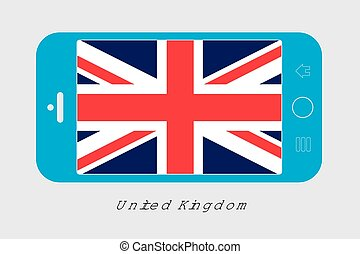 Mobile Phone with the Flag of United Kingdom