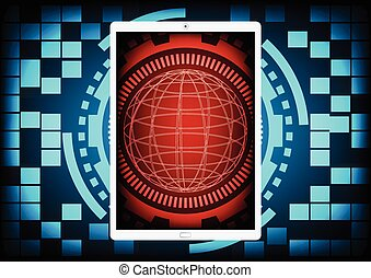 Mobile phone with the red circle of ring and gears inside on a blue gear ring technology background. Vector illustration design data protection security communication concept.