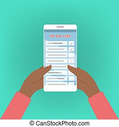 Mobile phone with to do list on screen