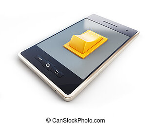 mobile phone with tumbler on white background