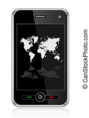 mobile phone with world map