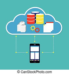 Mobile phone working on cloud with database application and document on cloud. Vector illustration cloud computing concept design.