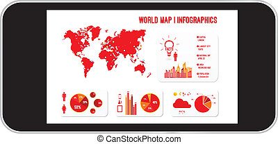 Mobile Phone World Map Infographics