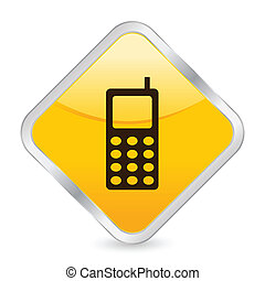mobile phone yellow square icon