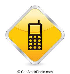 mobile phone yellow square icon