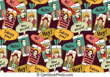 Mobile phones communication people color seamless pattern.