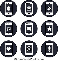 Mobile phones, contact icons set