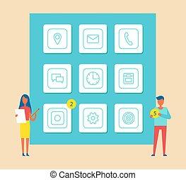 Mobile Phones Development Vector Illustration