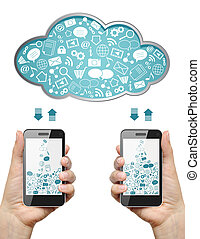 Cloud computing concept. - Mobile phones in female hands...