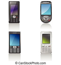 Mobile phones - Isolated mobile phones with reflection on ...