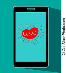 Mobile phones with hearts symbols on the screen icon.
