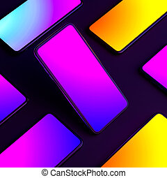 Mobile Phones With Multicolored Gradient Screens On Black Background. Yellow. Blue. Violet, Orange. 3d Rendering