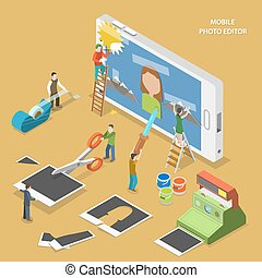 Mobile photo editor flat isometric vector concept.