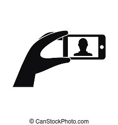 mobile, photo, main, téléphone, tenue, icône