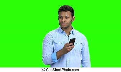 mobile, photo, prendre, jeune, téléphone., homme