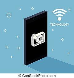 mobile, photo, wifi, téléphone, connexion, appareil photo, technologie