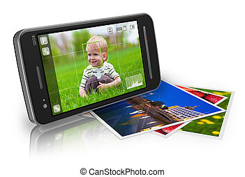 Mobile photography concept: touchscreen smartphone in camera mode and set of photos isolated on white reflective background *** Design of this smartphone and all used photos are my own
