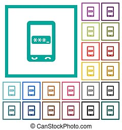 Mobile pin code flat color icons with quadrant frames on...