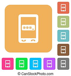 Mobile pin code rounded square flat icons - Mobile pin code...