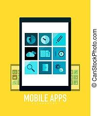 mobile, plat, concept, apps, tablette