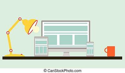 mobile, plat, conception, bureau