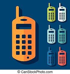 mobile, plat, design:, vieux, téléphone