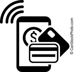 mobile, plat, icon., paiement, design.