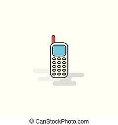 mobile, plat, icon., vecteur, téléphone