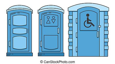 Mobile portable bio toilet. Toilet for disabled people. Set of icon. Front view. Blue plastic closet WC. Vector iIllustration