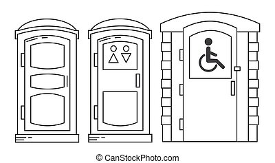 Mobile portable bio toilet. Toilet for disabled people. Set of outline icon. Front view. Blue plastic closet WC. Vector iIllustration