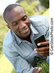 mobile, posa, parco, giù, telefono, uomo
