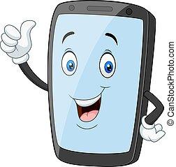 mobile, pouces, téléphone, donner, dessin animé, haut, mascotte