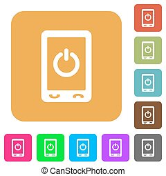 Mobile power off rounded square flat icons