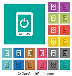 Mobile power off square flat multi colored icons
