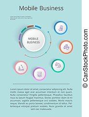 mobile, présentation, solution, icones affaires
