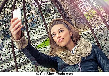 mobile, prendre, femme, selfie